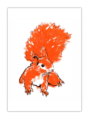 Red Squirrel illustration by Tiff Howick available as screenprint, tea towel, greeting card