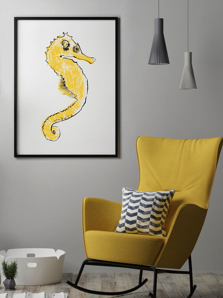 Seahorse illustration by Tiff Howick handprinted screenprint 50 x 70cm