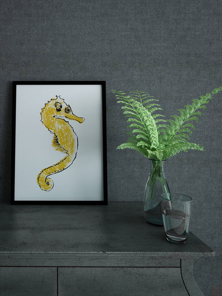 Seahorse illustration by Tiff Howick handprinted screenprint
