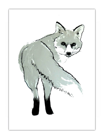 Silver Fox illustration screenprint by Tiff Howick available as art prints