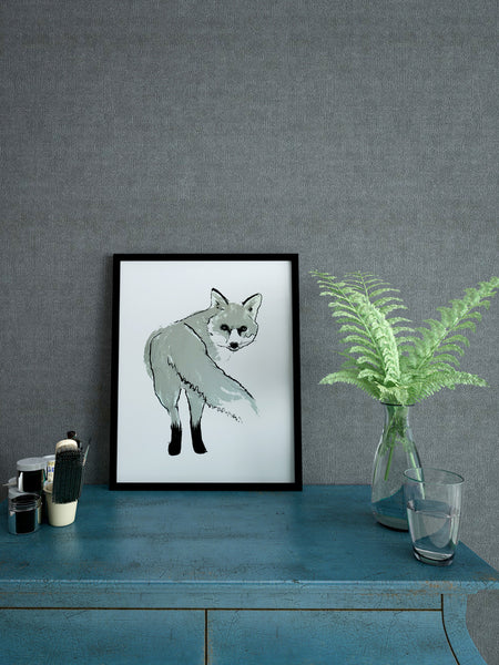 Silver Fox illustration screenprint by Tiff Howick stylish interior home A4 small size art print