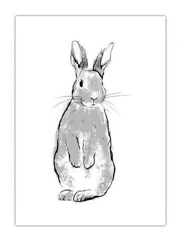 Wyatt silver rabbit illustration by Tiff Howick available as handmade screenprint in 3 easy to frame sizes and greeting card