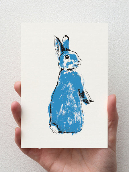 Blue Rabbit greeting card designed by Tiff Howick made in the UK from sustainably sourced paper