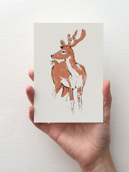 Deer greeting card designed by Tiff Howick printed in the UK on sustainably sourced card, blank inside 105 x 148mm