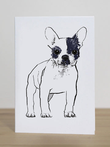 French Bulldog greeting card designed by Tiff Howick blank inside made in the UK from sustainably sourced card 105 x 148mm