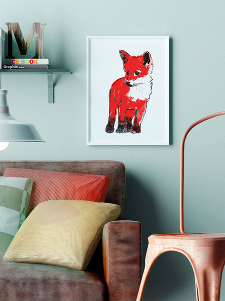 Red Fox Cub illustration screenprint by Tiff Howick displayed in stylish interior medium art print