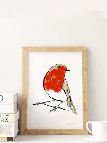 Robin illustration screenprint by Tiff Howick available as art prints and greeting cards