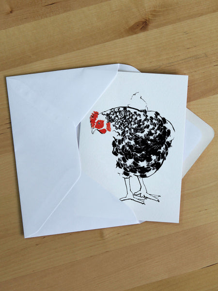 Chicken greeting card designed by Tiff Howick made in the UK with sustainably sourced card blank inside