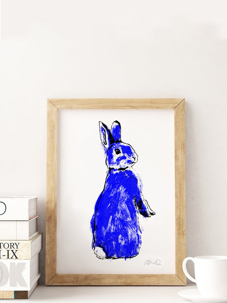 Blue Rabbit screenprint A4 size by Tiff Howick displayed in natural frame