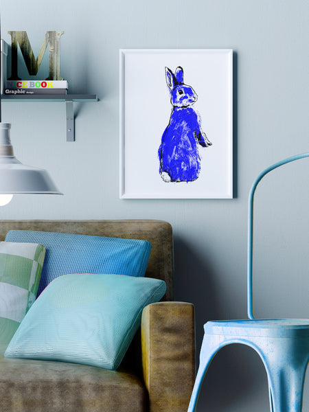 Blue Rabbit screenprint A3 size by Tiff Howick displayed in stylish living room