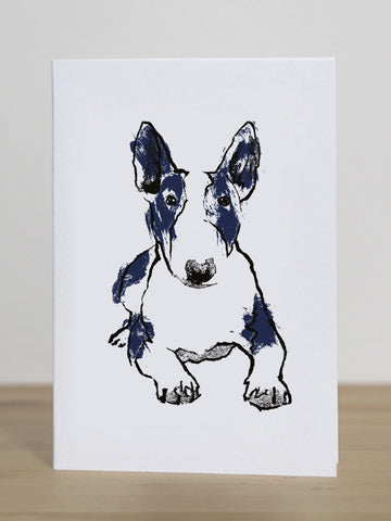 Bull Terrier greeting card designed by Tiff Howick blank inside made in the UK from sustainably sourced card 105 x 148mm