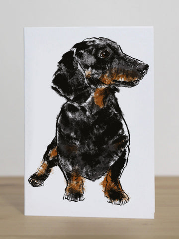 Dachshund greeting card designed by Tiff Howick blank inside made in the UK from sustainably sourced card 105 x 148mm