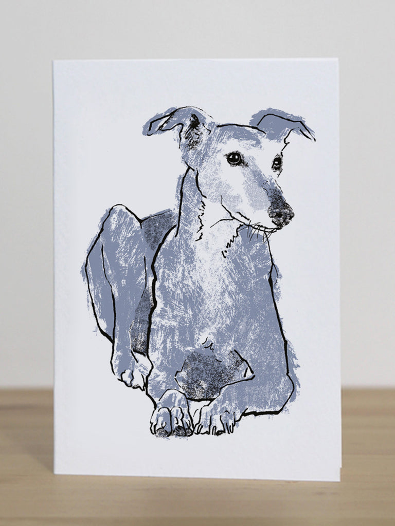 Greyhound greeting card designed by Tiff Howick blank inside made in the UK from sustainably sourced card 105 x 148mm