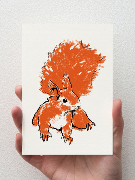 Red Squirrel greeting card designed by Tiff Howick made in the UK with sustainably sourced paper