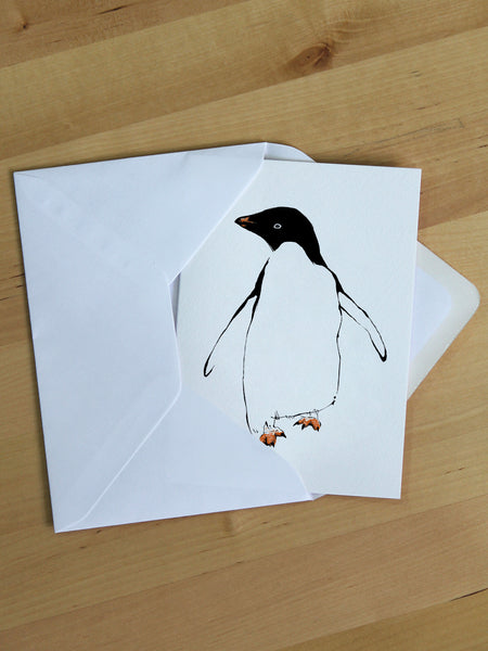Penguin greeting card designed by Tiff Howick made in UK from sustainably sourced paper blank inside