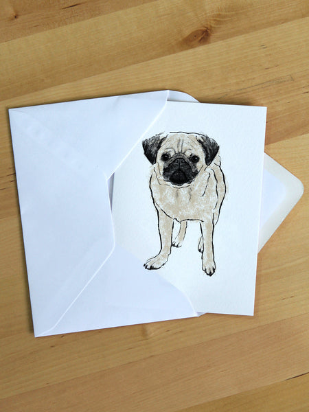 Pug greeting card designed by Tiff Howick blank inside 105 x 148mm sustainably sourced card and paper