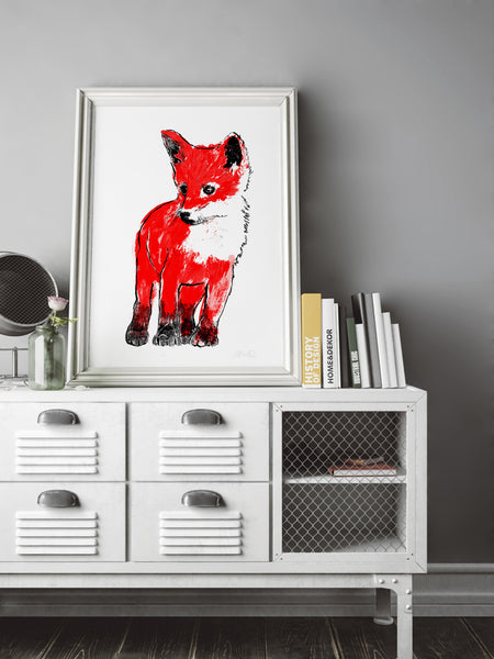 Red Fox Cub illustration screenprint by Tiff Howick displayed in stylish interior large art print