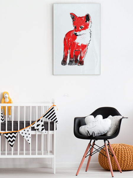 Red Fox Cub illustration screenprint by Tiff Howick displayed in child nursery large art print
