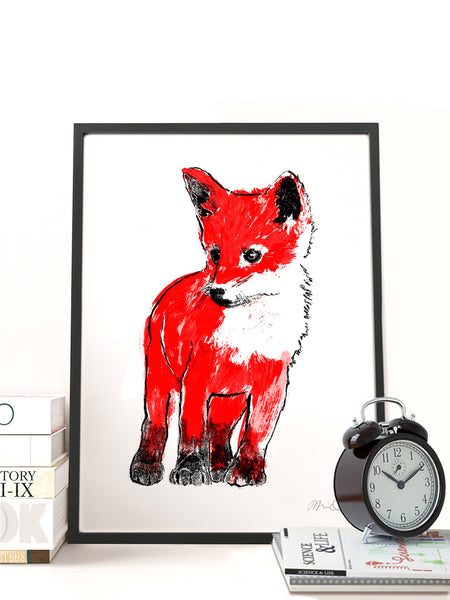 Red Fox Cub illustration screenprint by Tiff Howick displayed in natural wood frame medium A3 art print