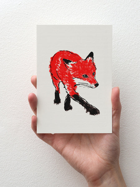 Walking Fox greeting card designed by Tiff Howick blank inside sustainably sourced card and envelope