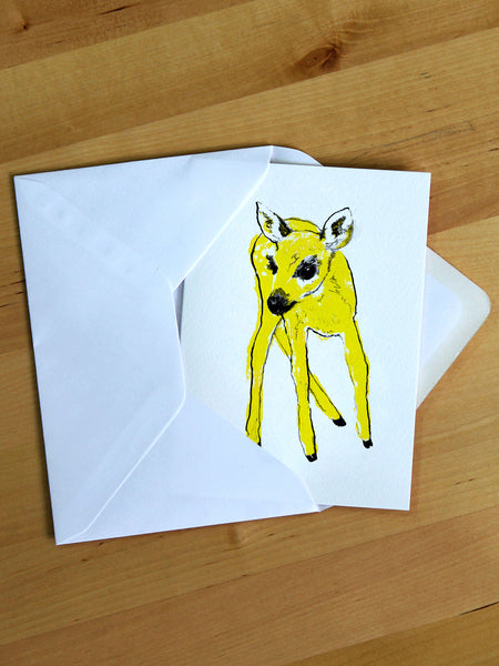 Yellow Fawn greeting card designed by Tiff Howick printed in the UK on sustainably sourced card, blank inside 105 x 148mm