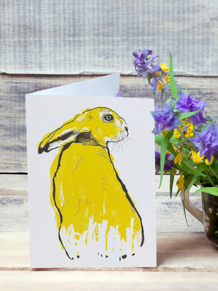 Yellow Hare illustration by Tiff Howick greeting card blank inside sustainably sourced card and envelope