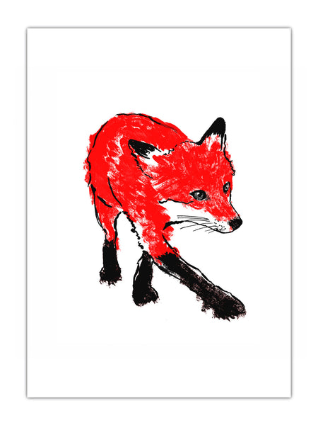 Walking Fox illustration by Tiff Howick available as screenprinted art, greeting cards, tea towels