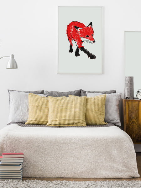 Walking Fox illustration screenprint by Tiff Howick stylish interior room bedroom large art print