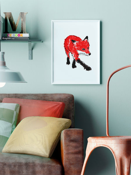 Walking Fox illustration screenprint by Tiff Howick stylish interior living room A3 medium size art print