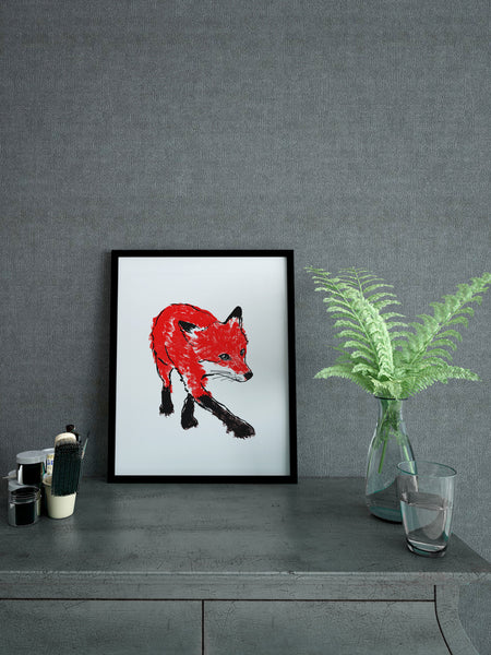 Walking Fox illustration screenprint by Tiff Howick stylish interior living room A4 small size art print