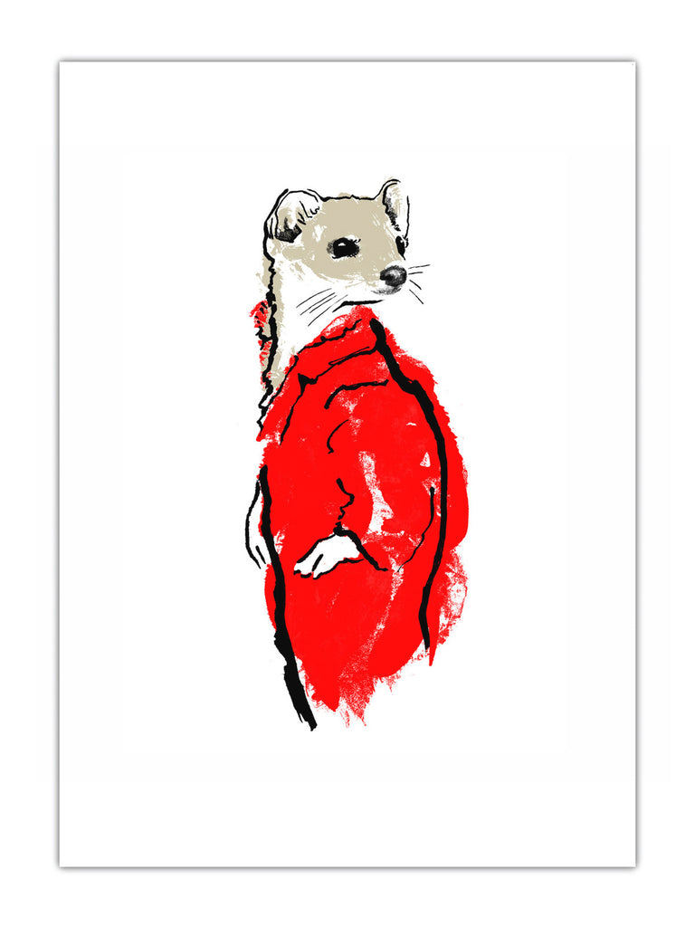 Weasel illustration by Tiff Howick available as art prints, greeting cards