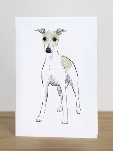 Whippet greeting card designed by Tiff Howick blank inside, sustainably sourced card and envelope UK made 105 x 148mm
