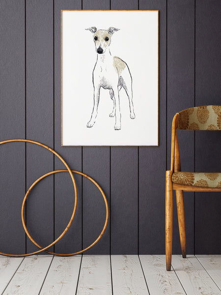 Whippet illustration screenprint by Tiff Howick stylish interior hallway large art print