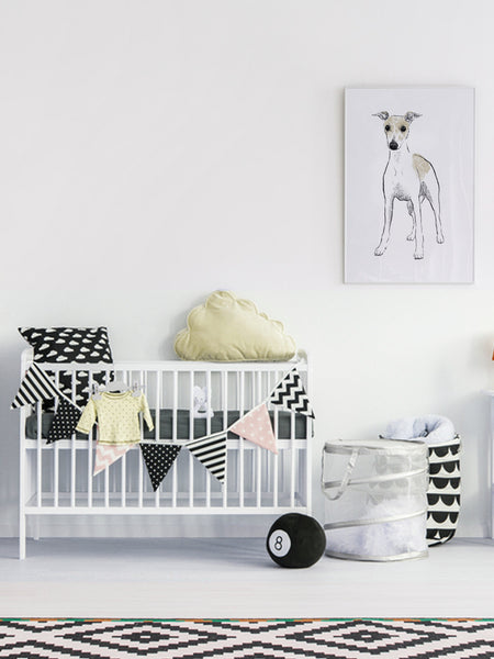 Whippet illustration screenprint by Tiff Howick stylish interior child bedroom nursery large art print