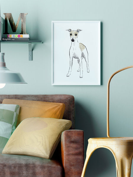 Whippet illustration screenprint by Tiff Howick stylish interior living room A3 medium art print