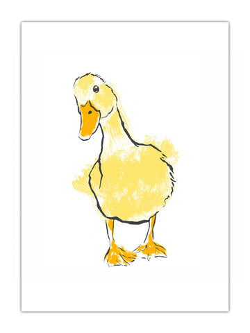 Yellow Duck illustration by Tiff Howick available as screenprinted art, tea towel, greeting card