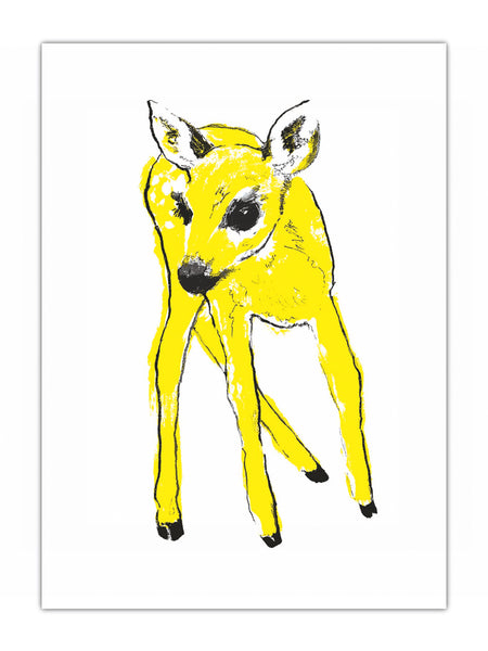 Yellow Fawn illustration by Tiff Howick available as screenprint, tea towel, greeting card