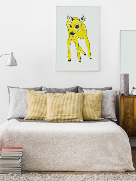 Yellow Fawn illustration screenprint by Tiff Howick stylish bedroom large art print