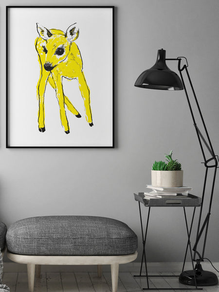 Yellow Fawn illustration screenprint by Tiff Howick stylish living room large art print