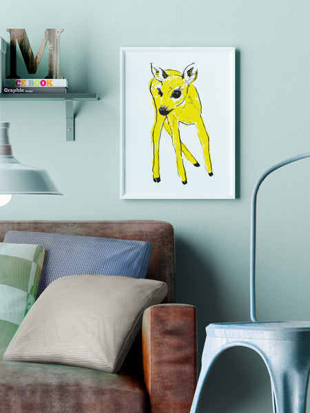 Yellow Fawn illustration screenprint by Tiff Howick stylish living room A3 medium sized art print