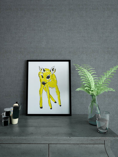 Yellow Fawn illustration screenprint by Tiff Howick stylish interior room A4 small size art print