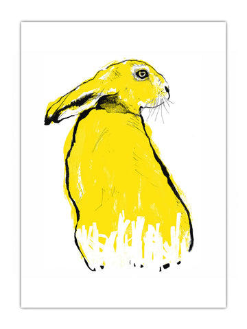 Yellow Hare screenprint by Tiff Howick handmade in London with water-based inks and sustainably sourced paper available in four 4 easy to frame sizes