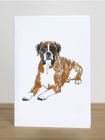 Boxer dog greeting card designed by Tiff Howick blank inside made in the UK from sustainably sourced card 105 x 148mm