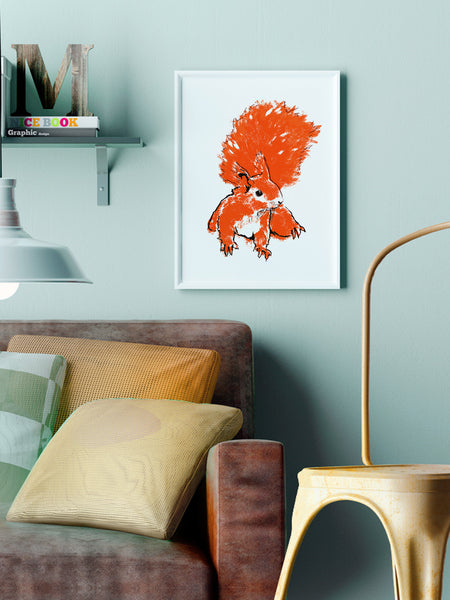 Red Squirrel illustration by Tiff Howick displayed in stylish interior A3 medium size art print
