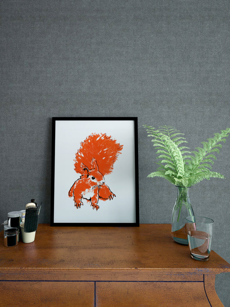 Red Squirrel illustration by Tiff Howick displayed in stylish interior A4 small size art print
