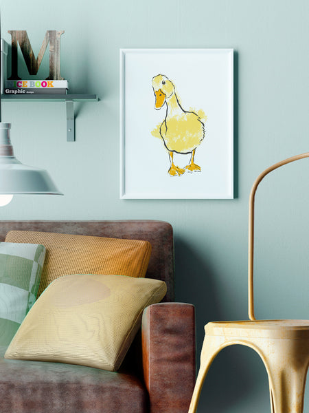 Yellow Duck illustration screenprint by Tiff Howick stylish interior room medium sized A3 art print