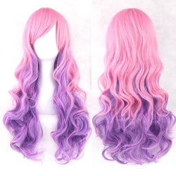 Pink Purple Women Heat Resistant Colorful Wavy Cosplay Wigs