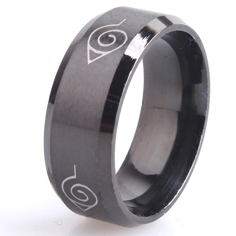 8mm brushed Konoha sign 316L Stainless Steel finger rings