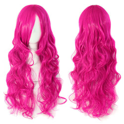 Peach Red Women's Fashion Rose Pink Long Wave Curly cosplay Wigs