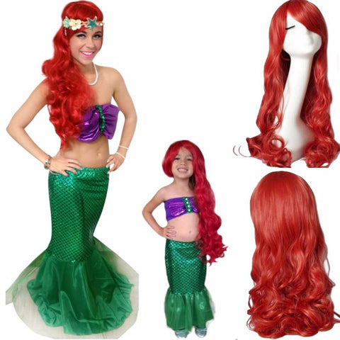 Hot fashion the little mermaid Curly red cosplay anime wigs